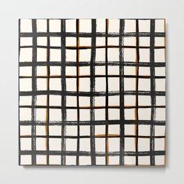 White brown plaid, pool tiles pattern, tartan Metal Print