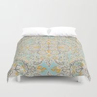 bedding Duvet Covers featuring Gypsy Floral in Soft Neutrals, Grey & Yellow on Sage by micklyn