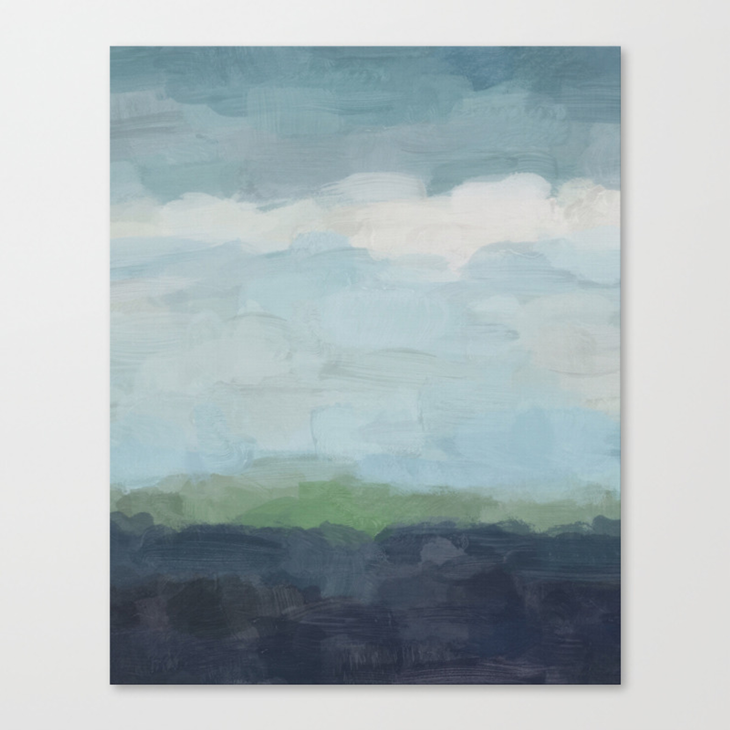 Navy Teal Aqua Sky Blue Green Abstract Wall Art Painting Art Nature Horizon Modern Wall Canvas Print