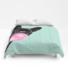Bubble Gum Sneaky French Bulldog in Green Comforters