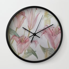 Watercolor Lily Wall Clock