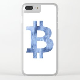Bitcoin Blue clouds watercolor pattern Clear iPhone Case