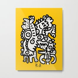 Black and White Cool Monsters Graffiti on Yellow Background Metal Print