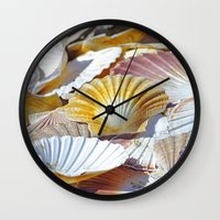 shells Wall Clocks featuring Shells by jacqi elmslie