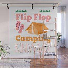 Girls Camping Flip Flops Wall Mural