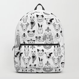 Friendly Geometric Farm Animals // white background black and white pigs queen bees lambs cows bulls dogs cats horses chickens and bunnies Backpack