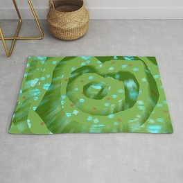 Green poppies S10 Rug