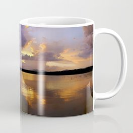 Panoramic. Sunset at the lake after the storm. End of the summer. Coffee Mug