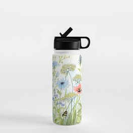Floral Watercolor Botanical Cottage Garden Flowers Bees Nature Art Water Bottle
