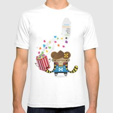 PopCorn can save the world Mens Fitted Tee White MEDIUM