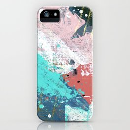 Daydreams: a colorful abstract mixed media piece in pinks, blues, greens, white, and gold iPhone Case