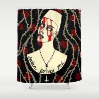 satan Shower Curtains featuring Satan Loves Me by Samm Haney