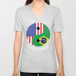 USA Brazil Ying Yang Heritage for Proud Brazilian American, Biracial American Roots, Culture, Unisex V-Neck