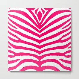 Bright Neon Pink and White Zebra Animal Safari Stripes Metal Print