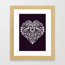 white damask heart Framed Art Print