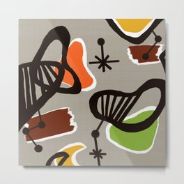 Mid Century Art Backcloth Inspired Metal Print