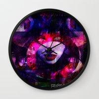 lydia martin Wall Clocks featuring Atomic Lydia. by echopunk