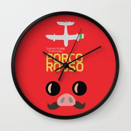 Porco Rosso - Hayao Miyazaki minimalist movie poster - Studio Ghibli, japanese animated film Wall Clock