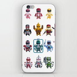 Nostalgic Retro gaming pixel tokusatsu sentai heroes. iPhone Skin