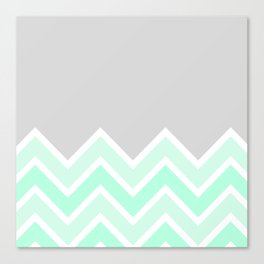 TWO-TONE MINT CHEVRON COLORBLOCK Canvas Print