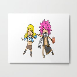 FairyTail-Natsu and Lucy Metal Print