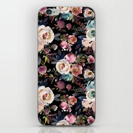 Blush pink teal lilac ivory watercolor modern roses iPhone Skin