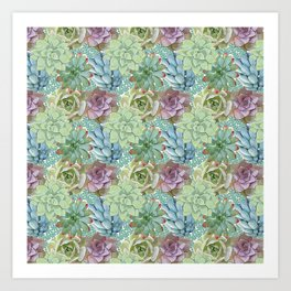 Succulents, cactus, green,blue and pink, dense repeat pattern. Art Print