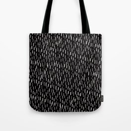 Dark Winter Night- White Strokes Lines on Black - Mix & Match with Simplicity of life Tote Bag