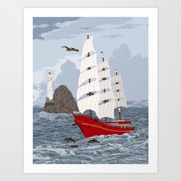Red ship Art Print