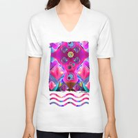 diamonds V-neck T-shirts featuring Diamonds by thea walstra