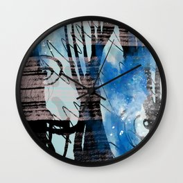Blue Watercolor Drawing with Black Pattern: Scribble Series 04 Wall Clock