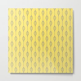 Geometric Abstract in Yellow and Grey Metal Print