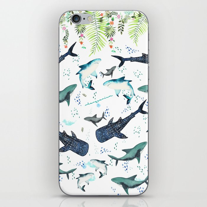 floral shark pattern iPhone Skin