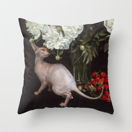 Sphynx and peonies Throw Pillow