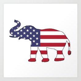 "Elephant ""American Flag"" Art Print"