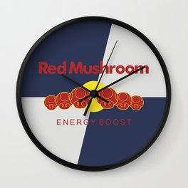 Red Mushroom Energy Boost Wall Clock