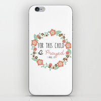 bible verse iPhone & iPod Skins featuring Bible Verse - For This Child I Prayed by Petite Joy Print