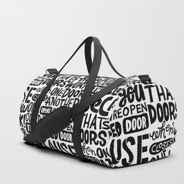 that's how doors work x typography Duffle Bag