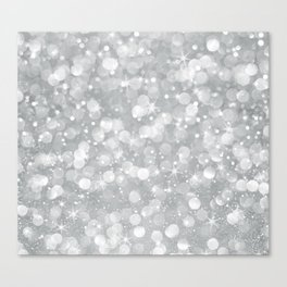 Silver glam bokeh glitter and sparkles Canvas Print