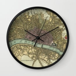 Vintage Map of London England (1740) Wall Clock