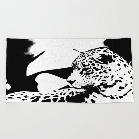 Black And White Wildcat  Beach Towel