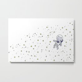 catstronaut cute cat astronaut in space with yellow stars for kids science nerd geeks Metal Print