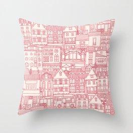 cafe buildings pink Throw Pillow