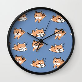 Cool Blue Shiba Pattern Wall Clock