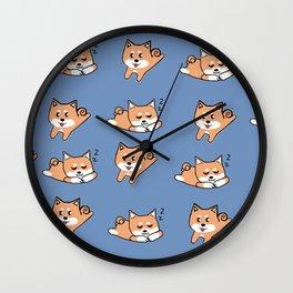 Cool Blue Shiba Pattern Wall Clock
