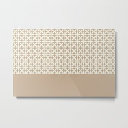 Pantone Cannoli Cream Square Petal Pattern on Pantone Hazelnut Metal Print