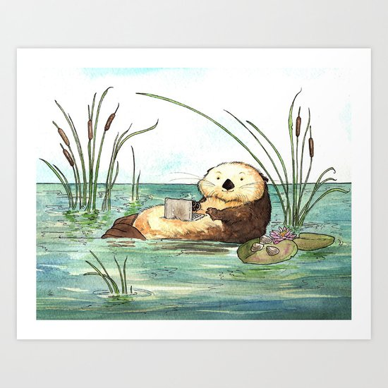 Otter on a Laptop Art Print