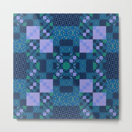 Elegant Geometric High Definition Quilt Lavender Teal Metal Print