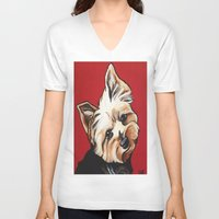 yorkie V-neck T-shirts featuring Pet/Dog Portrait of Yorkshire Terrier/Yorkie on Red by Cheney Beshara
