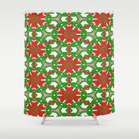 Red, Green and White Kaleidoscope 3373 Shower Curtain